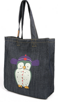 wholesale custom printed women denim jean fabric canvas tote shopper bag